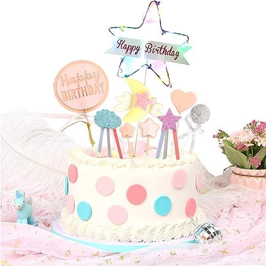 Awe Inspiring Colorful Birthday Cake Toppers Led Star Birthday Cake Topper Birthday Cards Printable Giouspongecafe Filternl