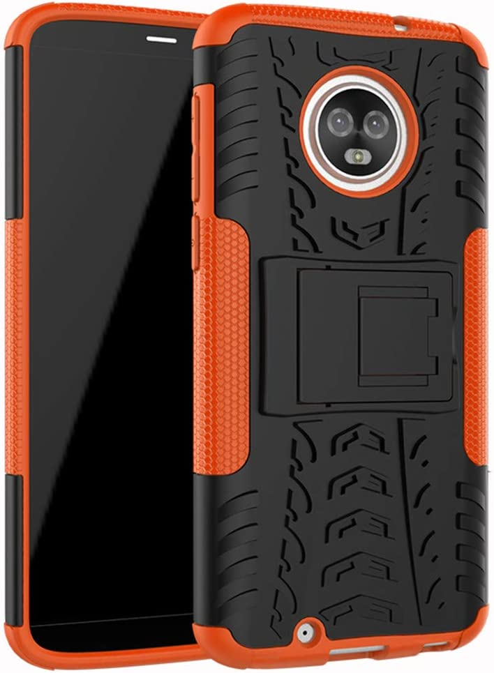 "Moto G6 Case,Yiakeng Dual Layer Wallet Accessories Bumper Hard Protective Flip Waterproof Phone Cases Cover with A Kickstand for Motorola Moto G (6th Generation) 5.7""(Orange)"