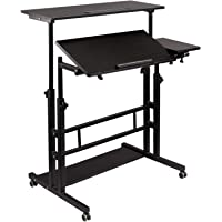 Hadulcet Mobile Standing Desk, Rolling Table Adjustable Computer Desk, Stand Up Laptop Desk Mobile Workstation for Home…