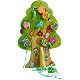 HLJgift Wooden Animal Lacing & Stringing Beads Toys with Tree Board for Toddlers