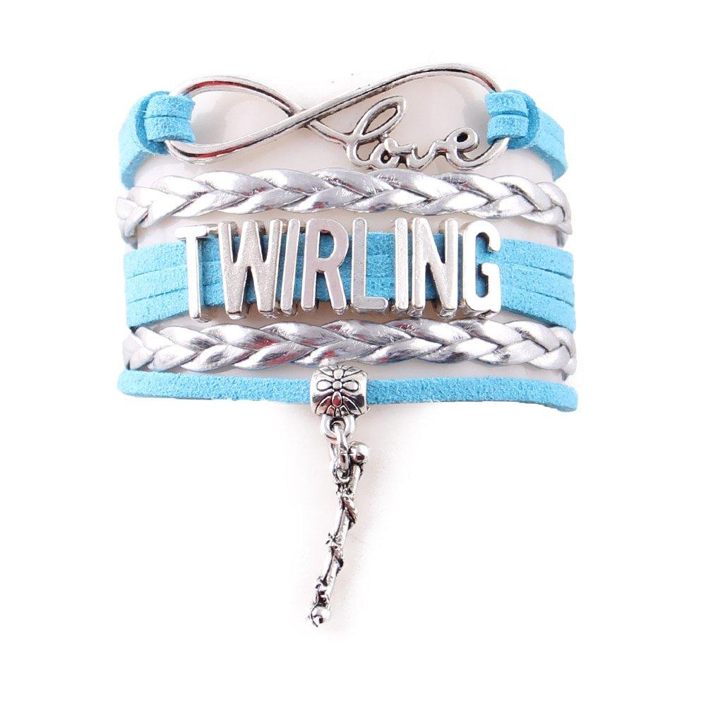 Infinity Love Baton Twirling Bracelet (Silver-Sky) - Twirling Jewelry - Baton Twirler Gift - Twirling Gift - Majorette Jewelry - Majorette Gift …