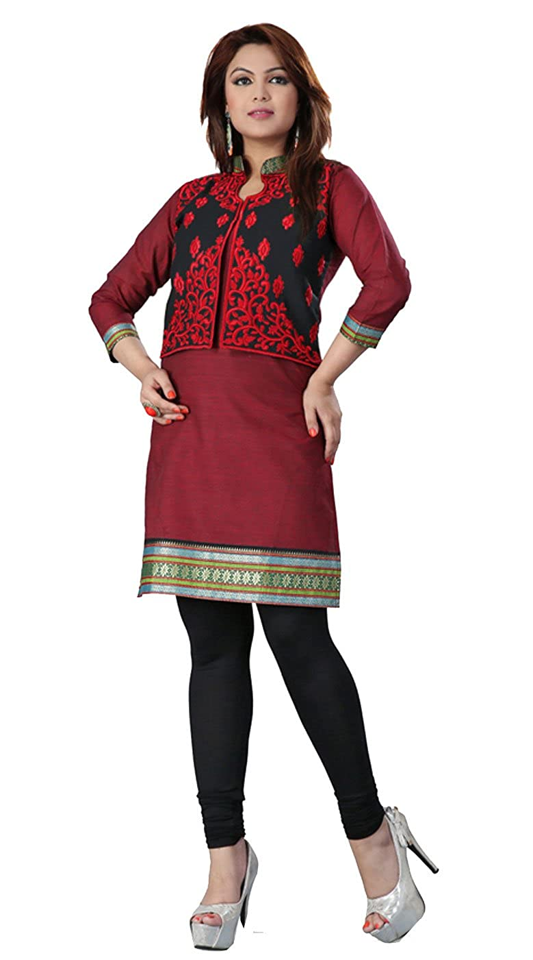 dfb4e11a6a13f Amazon.com  Indian Cotton Embroidered Tunics Kurti Top Womens India Apparel  (Maroon