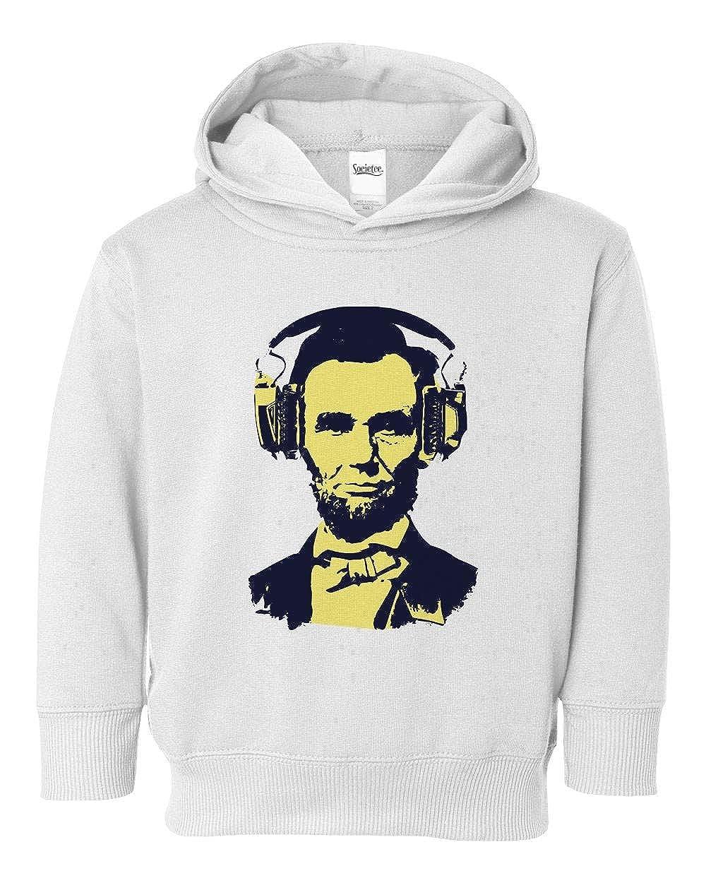 Societee Abraham Lincoln Headphones Cool Girls Boys Toddler Hooded Sweatshirt