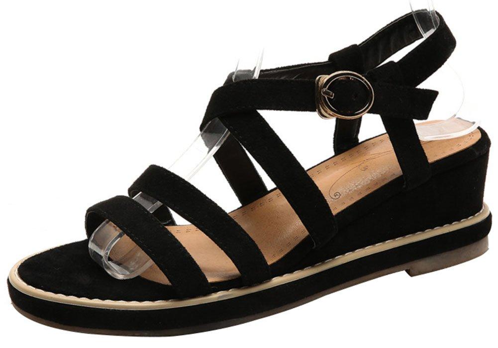 Mofri Women's Stylish Open Toe Sandals - Faux Suede Platform - Buckle Wedge Medium Heels Gladiators Shoes B07D4GVVXH 6 B(M) US|Black