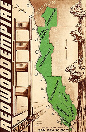 Redwood Empire Poster, Northern California, Oregon, Pacific Coast