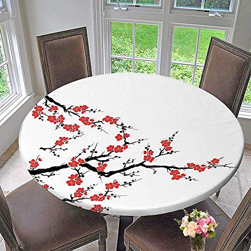 Mikihome Chateau Easy-Care Cloth Tablecloth Collection Simplistic Cherry Blossom Tree Asian Botanic Themed Pattern Fresh Organic Lines Art for Home, Party, Wedding 47.5
