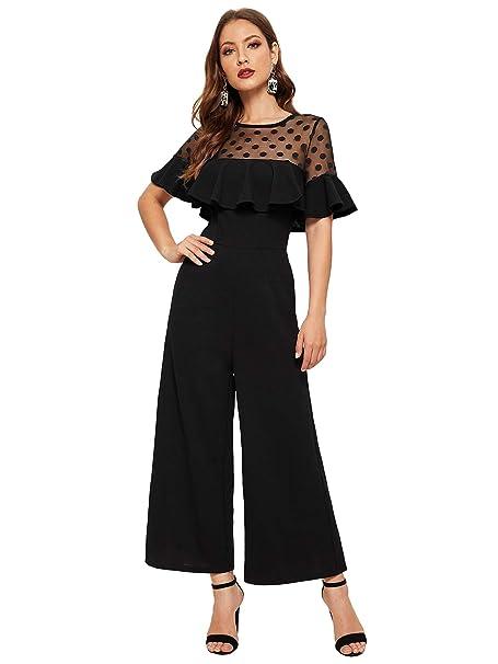 3c969874b8f6 Amazon.com  Romwe Women s Short Sleeve Dot Mesh Sheer Ruffle Trim High  Waist Long Wide Leg Jumpsuit Black XS  Clothing