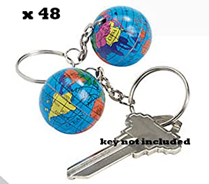Globe Key Chains Keychains - LOT OF 48 (4 DOZEN) - Party Favors by ROCKYMART