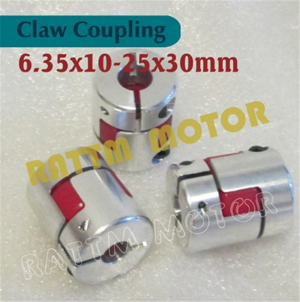 3Pcs 6.35x10mm CNC Stepper Motor Jaw Shaft Coupler 6.35mm to 10mm Flexible Jaw Spider Plum Coupling D25L30