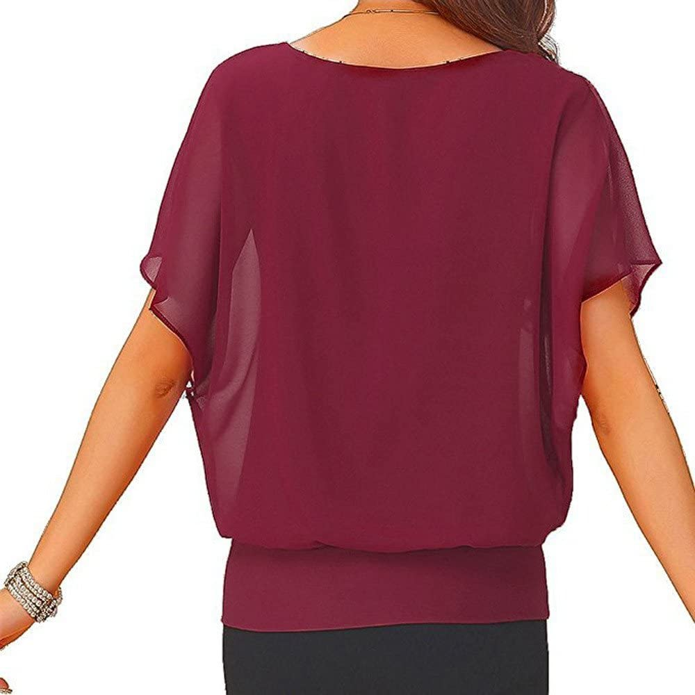 Kurzarm Shirt Damen Sport Rovinci Frauen Mode Schlank Top Fr/ühling und Sommer Einfarbig V-Ausschnitt Bunt Drucken Bluse Hemd Casual Basic Atmungsaktive L/ässiges Kurzarm Sweatshirt