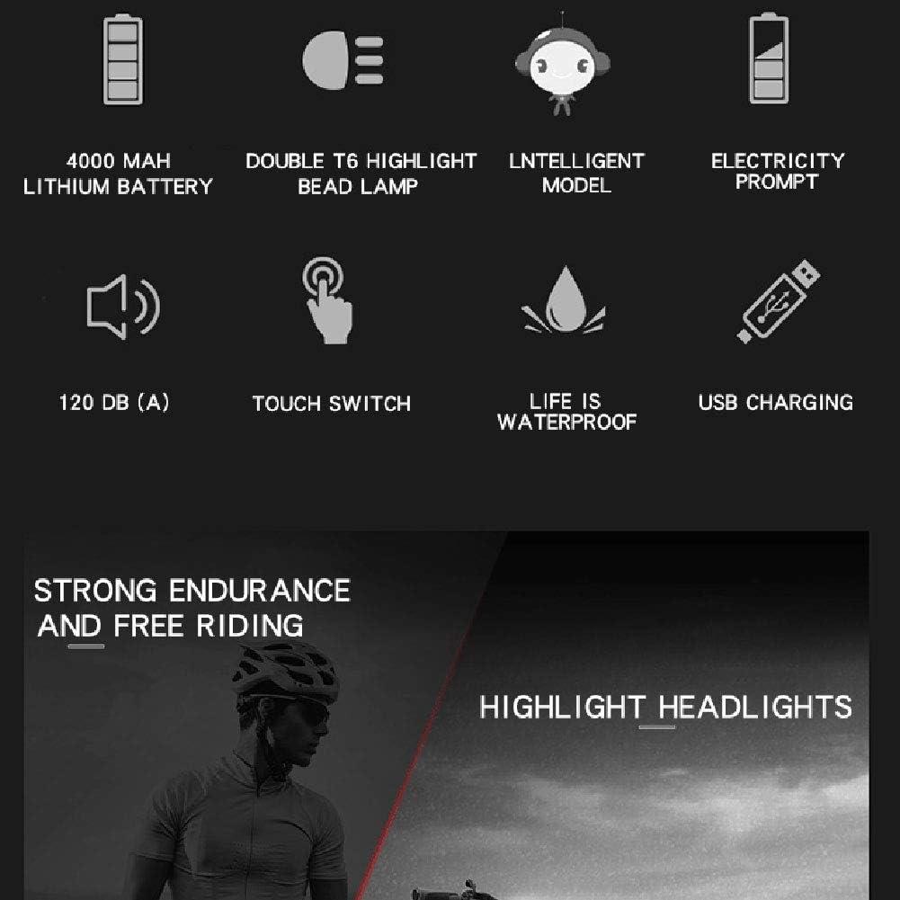 Wzmdd Mountainbike-Licht-Scheinwerfer mit Intelligent Mode T6 Doppel Hellen Korn Scheinwerfer High-Decibel Elektrisches Horn Wasserdicht Entwurf USB-Lade Mountainbike Lichter