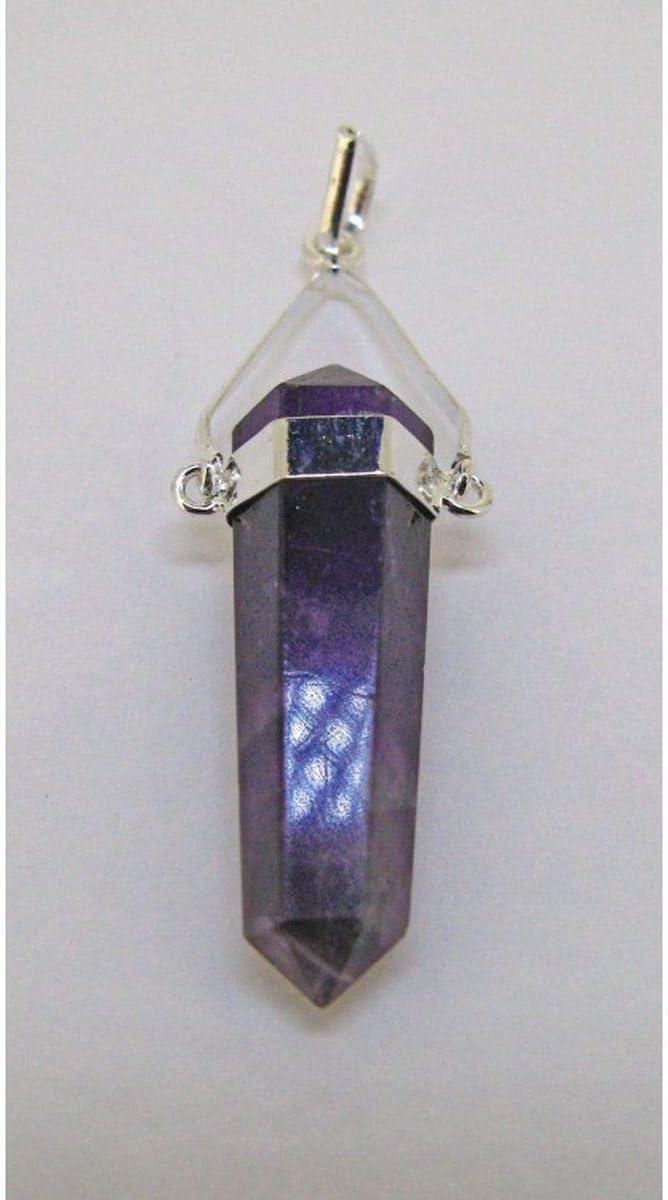 Colgante Biterminado Amatista Baño de Plata Minerales y Cristales, Belleza energética, Meditacion, Amuletos Espirituales