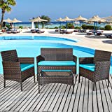 Merax 4 PCS Patio Furniture Set Outdoor Garden Conversation Set