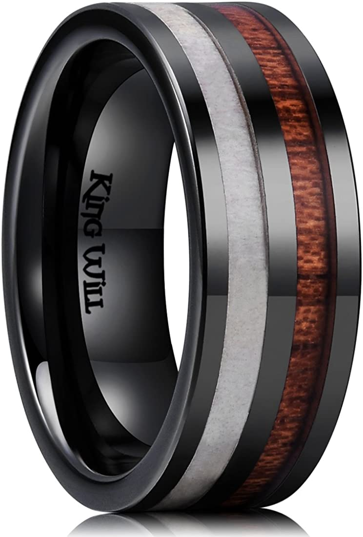 King Will Nature 8mm Antlers & Wood Inlay Black Ceramic Mens Wedding Ring Flat Style