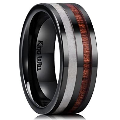 King Will Nature 8mm Antlers & Wood Inlay Black Ceramic Mens Wedding ...