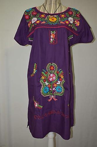 Artesanal Mexicano Bordado Mexicano Vestido Moradomxhandmade Vestido