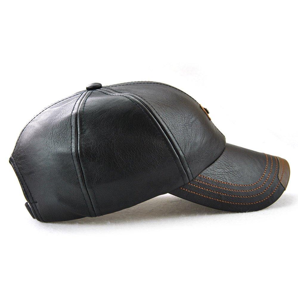 Nameblue Homme//Femme Casquette de Baseball en Cuir Casquette en Cuir Casquette R/églable Chapeau Sportif Hat Bonnet Flat Cap pour Randonn/ée//Outdoor//Voyage EU-12966-black
