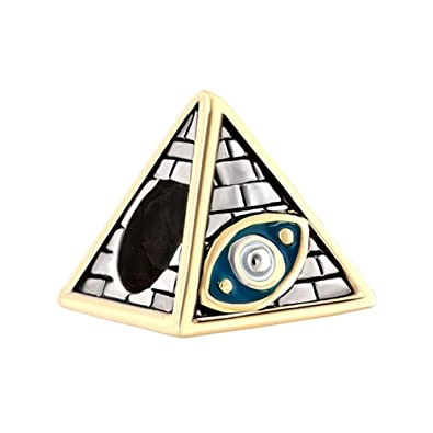 Bling Jewelry 925 Sterling Silver Egyptian Pyramid Bead Charm DXD8Az