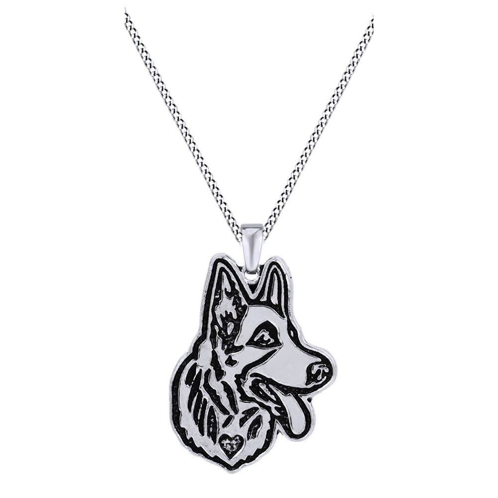 Jewel Zone US Cute German Shepherd Dog Animal Unique Necklaces /& Pendants 14k Gold Over Sterling Silver