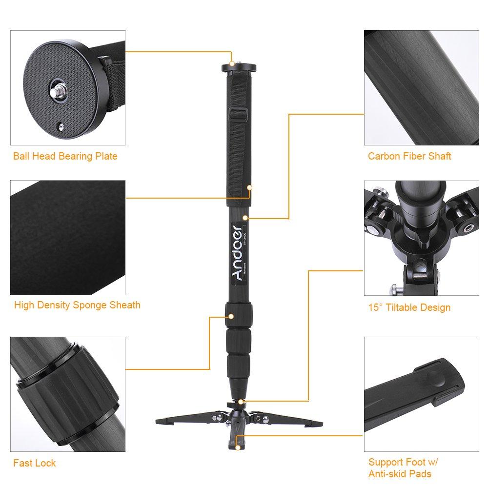 Andoer TP-340C Portable Carbon Fiber Camera Monopod for DSLR Cameras Max Load 15kg