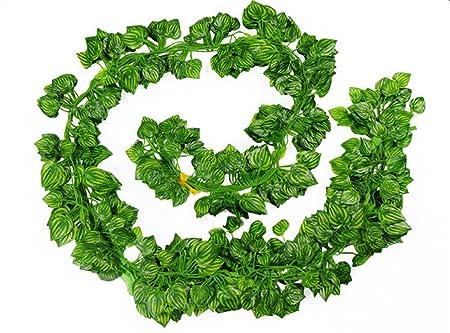 FABSELLER - Plantas Artificiales de imitación de Hojas de Hiedra Artificiales, Hojas de follaje Artificial, para el hogar, Boda, jardín, para Colgar, sandía: Amazon.es: Hogar