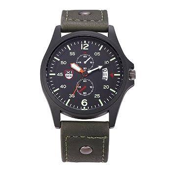 SW Watches Relojes Militares del Cuarzo De Los Hombres del Ejército del Análogo del Cuarzo De La Fecha De La Prenda Impermeable del Cuero Militar,1: ...