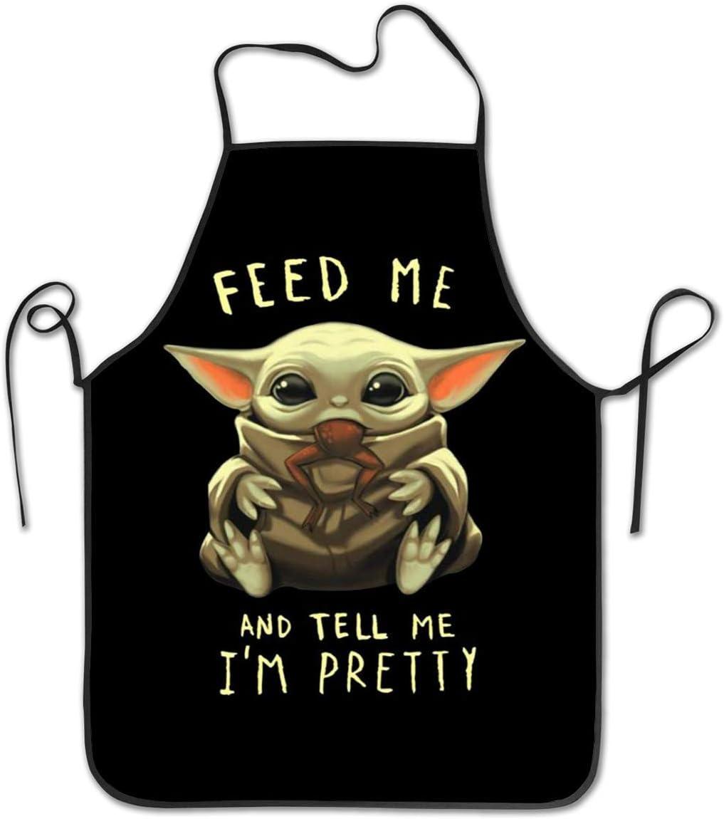 ni/ños Hombres N\A Delantal de Moda para Mujeres jardiner/ía Delantal Ajustable Resistente al Agua Hornear Babero alimentarme y decirme Que Soy Pretty Baby Yoda para cocinar Manualidades