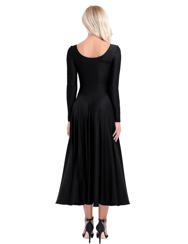 CHICTRY Womens Praise Stretchy Full Length Long Sleeve Dance Dress