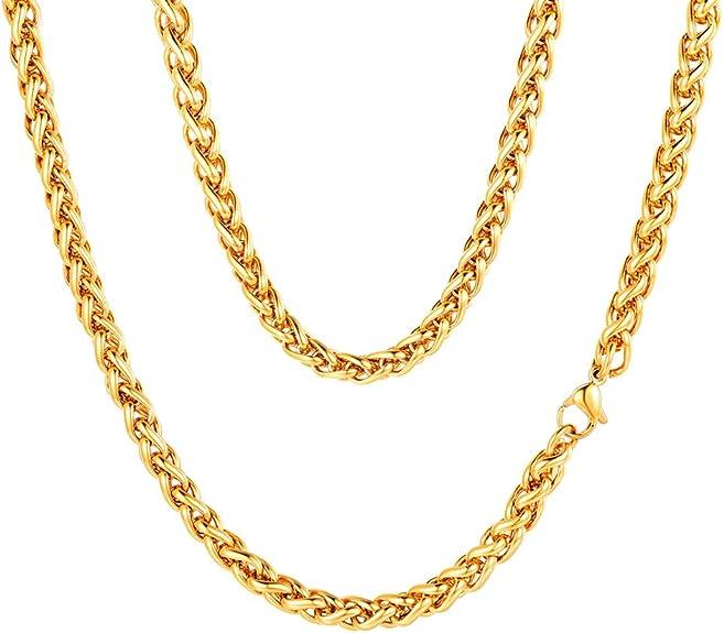 Image of FaithHeart 3/6MM Collar Trigo Espiga Cuerdas Trenzadas Twist Rope Chain Cadenas Sólidas de Acero Inoxidable Plateado/Dorado/Negro Collar Básico Personalizables para Hombres y Mujeres Joyería Simple