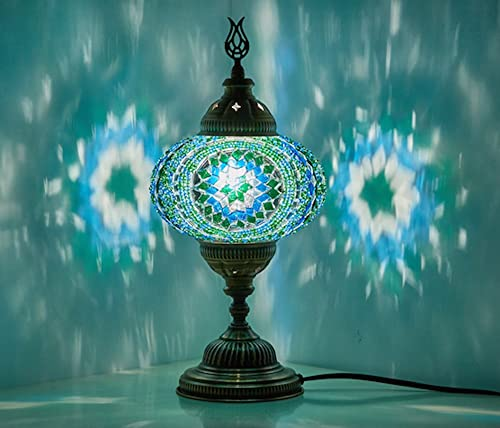 Demmex 2019 Turkish Moroccan Mosaic Table Bedside Night Tiffany Bedside Lamp for US Use, Teal,Turquoise,Green