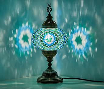 (10 Colors) Turkish Moroccan Handmade Mosaic Tiffany Table Desk Bedside Lamp Lampshade for AU Use with AU Plug & AU Socket (Teal)