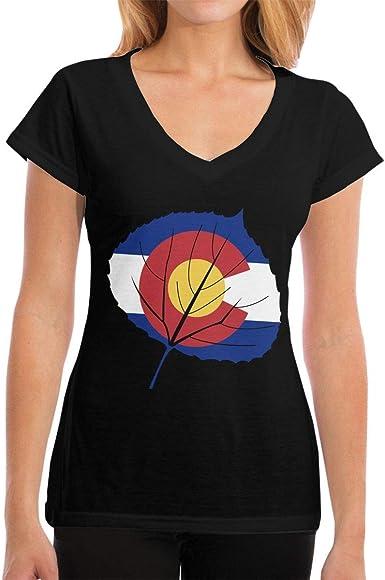 Playeras Aspen Leaf Colorado Flag Womens Fashion Camiseta de Manga Corta con Cuello en V: Amazon.es: Ropa y accesorios