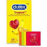 Durex Condoms, Tropical Flavors & Colours Lubricated, 12 Count