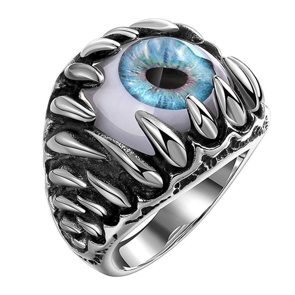 Ogquaton Anillo de ojo de diablo de hombres de calidad premium Crá neo gó tico del vintage Dragó n Garra Malvados ojos azules/rojos