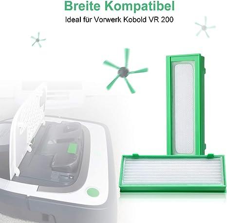AIEVE Juego de accesorios para aspiradora robótica Vorwerk Kobold VR200 -3x filtros HEPA y 3x cepillos laterales y 1x cepillo de limpieza: Amazon.es: Hogar