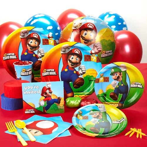 Super Mario Bros Party Supplies - Standard Party Pack for 16 (Mario Star Pinata)