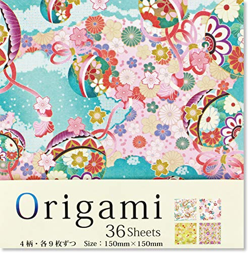 Beautiful Japanese Origami Paper (a.k.a. Chiyogami), Each Contains Four Different Designs, Made in Japan, Japanese Traditional Pattern, 48sheets