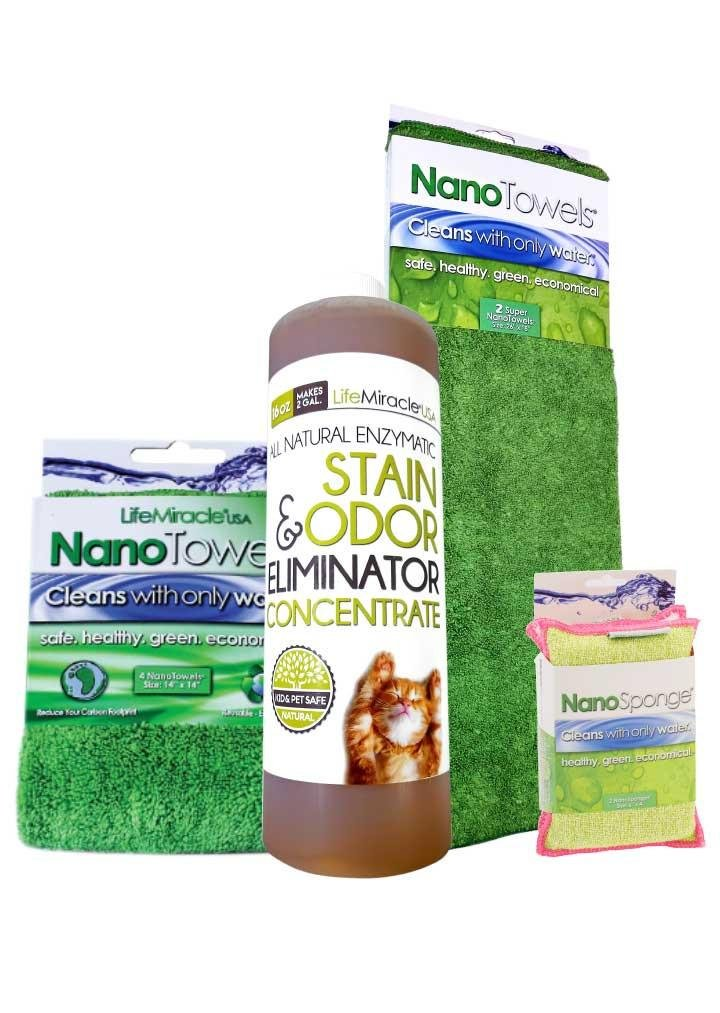 Enzyme x 1 (16oz) + SuperNano + NanoTowel + NanoSponge- All In One, All-Natural Stain Remover, Super Cleaner And Odor Eliminator and Revolutionary Cloth and Sponge Technology Cleans With Only Water