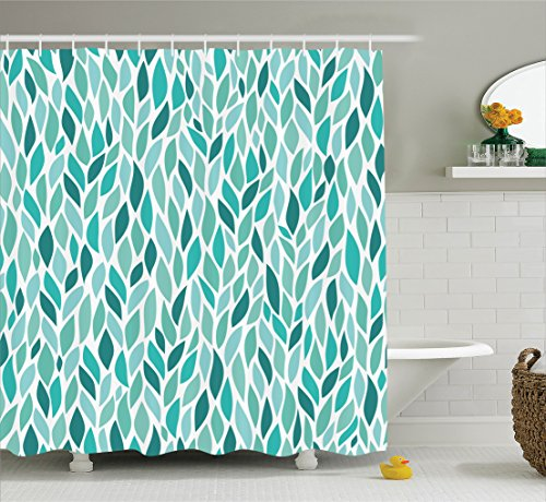 Ambesonne House Decor Collection, Windy Springtime Leaves Trees Branches Greenery Fun Joyful Abstract Image Print, Polyester Fabric Bathroom Shower Curtain, 75 Inches Long, Dark Teal Blue Mint