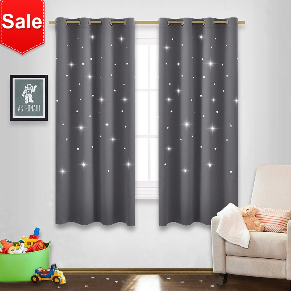 NICETOWN Gray Stars Kids Curtains - Nap time Essential Nursery Window Curtains for Kid's Room, Super Cute Drape Panels with Die-Cut Stars (2 Panels, W52 x L63 inches, Grey) by NICETOWN