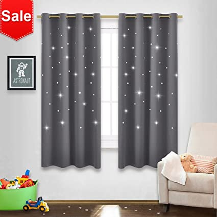 NICETOWN Gray Stars Kids Curtains
