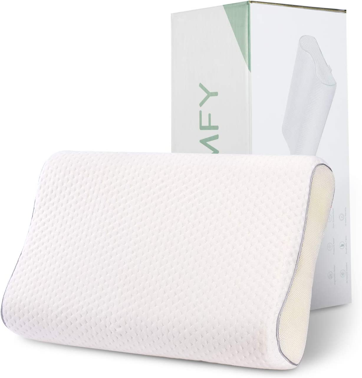 HOMFY Adjustable Memory Foam Sleeping Pillows Firm Neck Support Sandwich Pillow for Side, Back and Stomach Sleepers