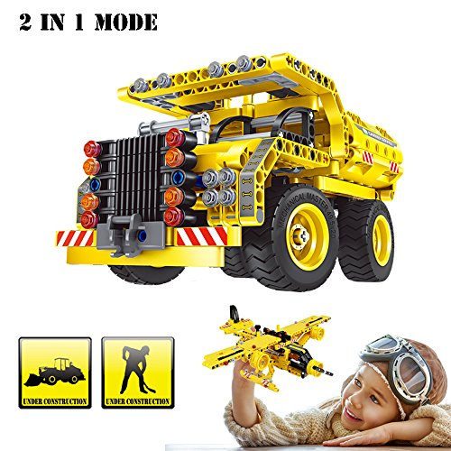 Building Blocks Toy, 361 Pieces Educational Construction Engineering Building Dump Truck and Airplane for 6 Year Old Kids, The Best Birthday Gift Creative 2 in 1 (Boys Birthday Gifts)