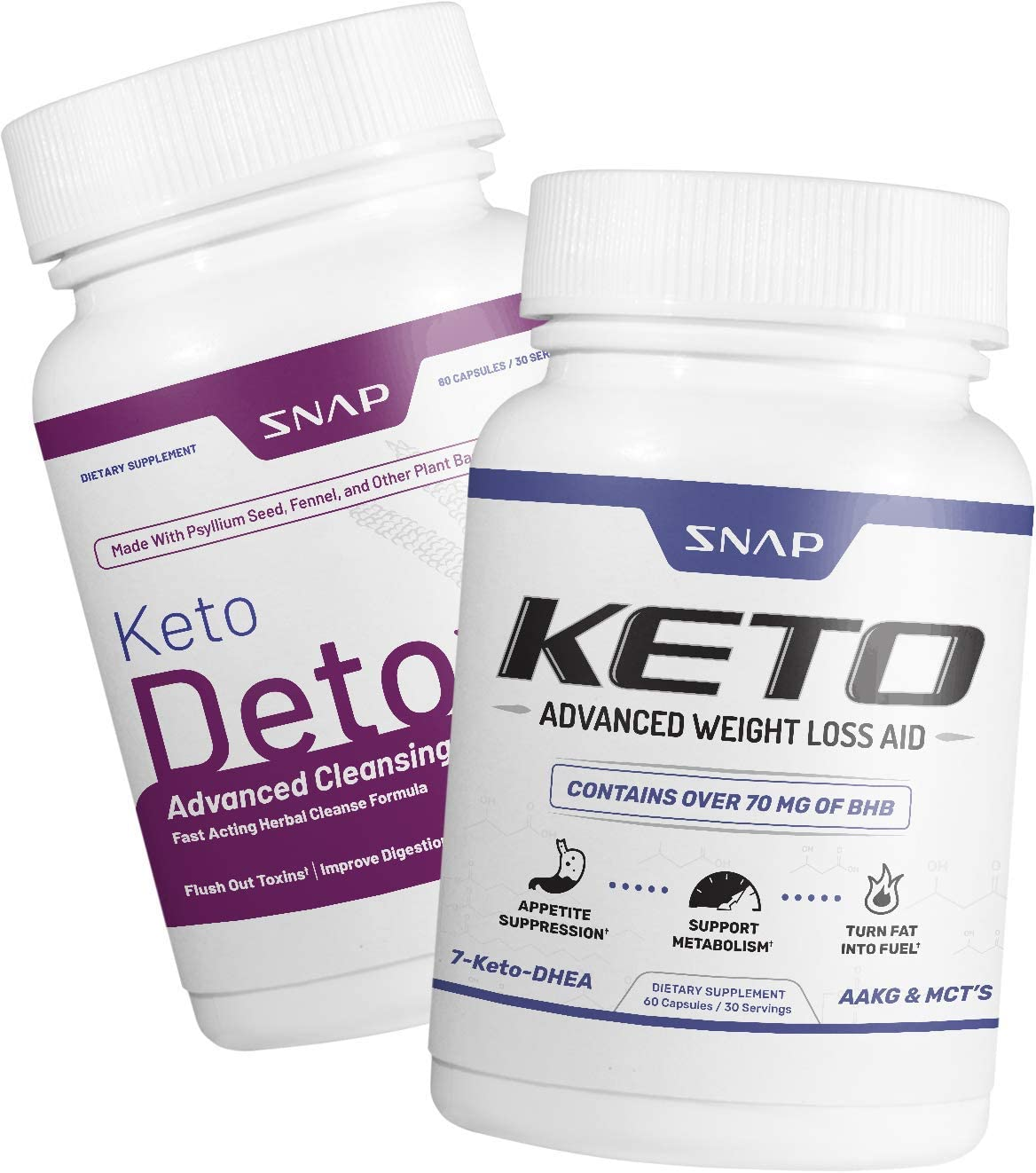 Keto Detox Bundle by Snap Supplements- All Natural Ketogenic Weight Loss Remedy- L Arginine, Psyllium Husk – Metabolism Energy Boost – 120 Capsules