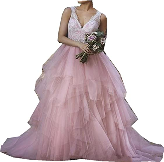 Wtbridal Long Evening Dresses Sexy Special Occasion Gowns Lace Tulle V-Neck Backless Prom Party