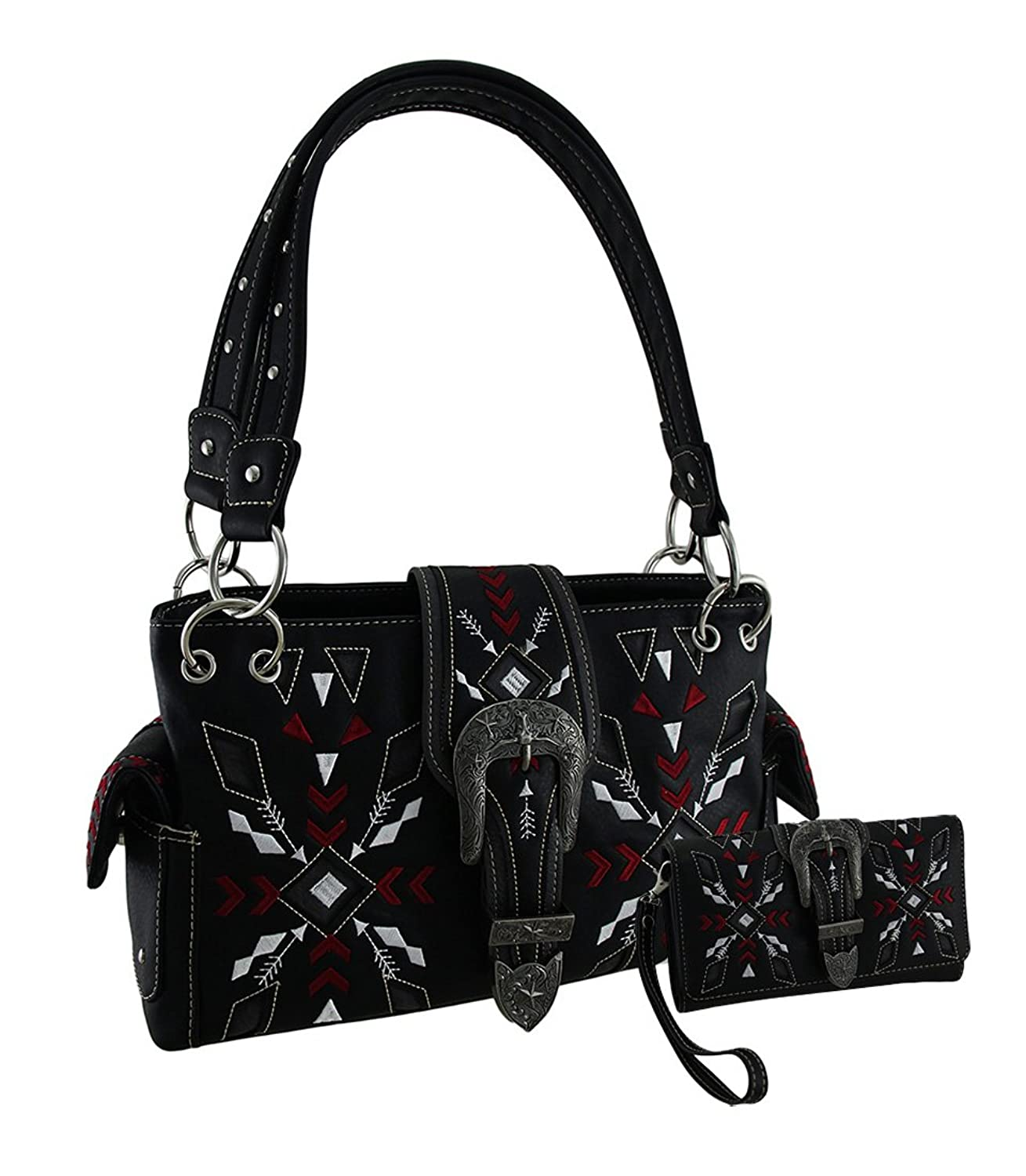Embroidered Arrows Steer & Star Western Buckle Concealed Carry Purse/Wallet Set