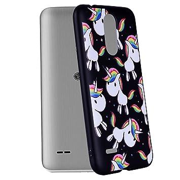 Yunbaozi Funda Compatible para LG K4 2017 Embossing Case Carcasa Suave Impresión 3D Caucho TPU Flexible Cáscara Delgado Ligero Alivio Negro Carcasa LG ...