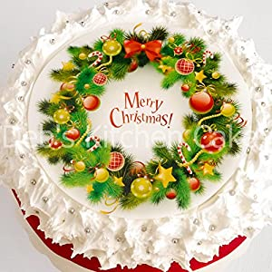 Christmas Cake Topper - Merry Christmas Wreath Cake ...
