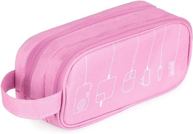 Balvi Organizador Cables Tidy Color Rosa Estuche Doble con Bolsillos y separadores con asa Poliéster 22,5 cm: Amazon.es: Hogar