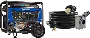Westinghouse WGen9500DF Dual Fuel Portable Generator-9500 Rated 12500 Peak Watts & Conntek GIB1450-025 Duo-Rain Seal 50Amp Power Inlet Box and Temp Power Cord Combo Kit, 25 Feet